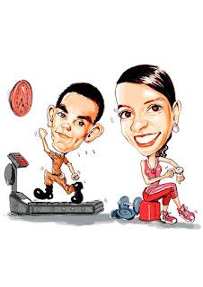caricatura de casal na academia