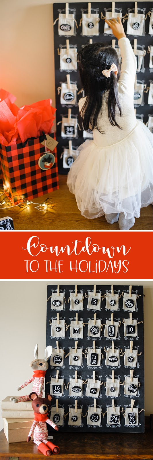 countdown to the holidays with hand lettered pin-back buttons on linen drawstring bags | creativebag.com
