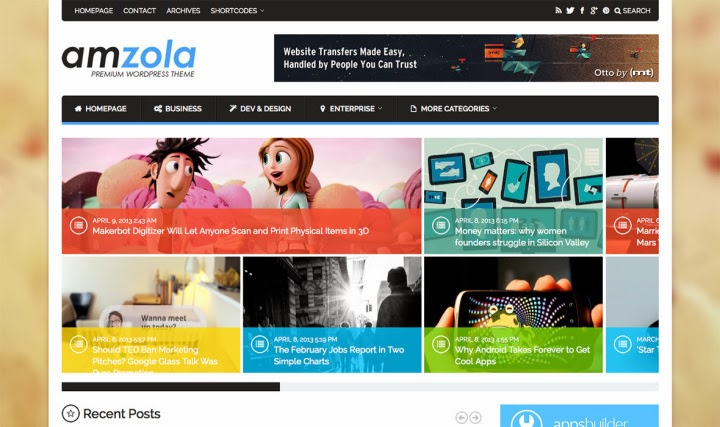 Amzola - Metro reponsive magazine theme Wordpress