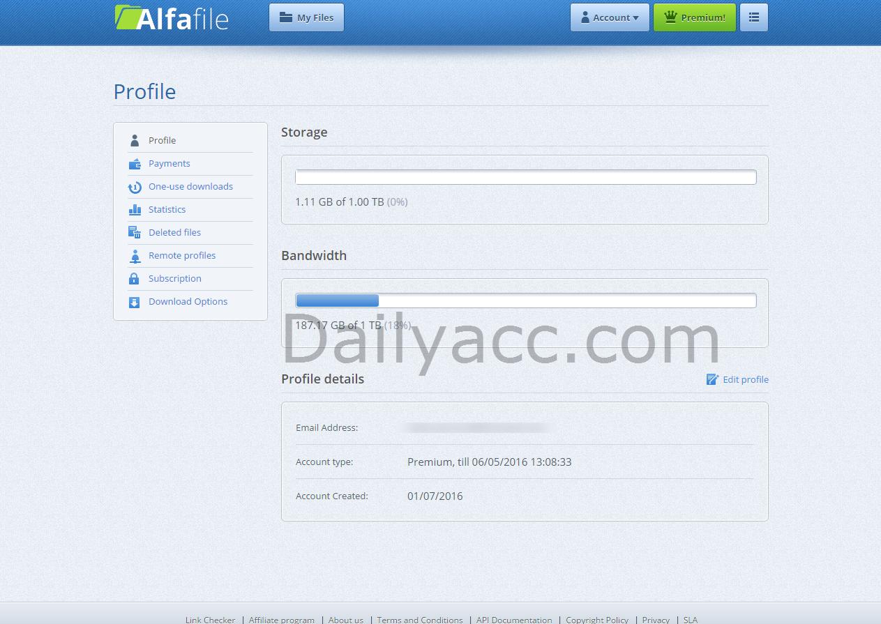 Alfafile.net Premium Account Until 01/07/2016 (187.17 GB of 1 TB)