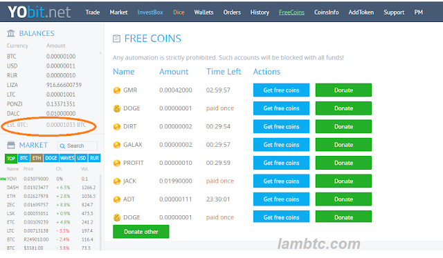Get free coin from yobit exchange