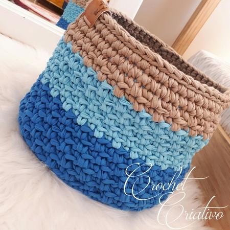 Crochet Criativo - Cesto azul