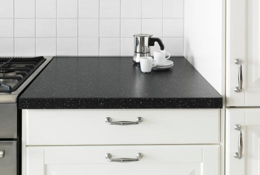 black and white kitchen IKEA countertops