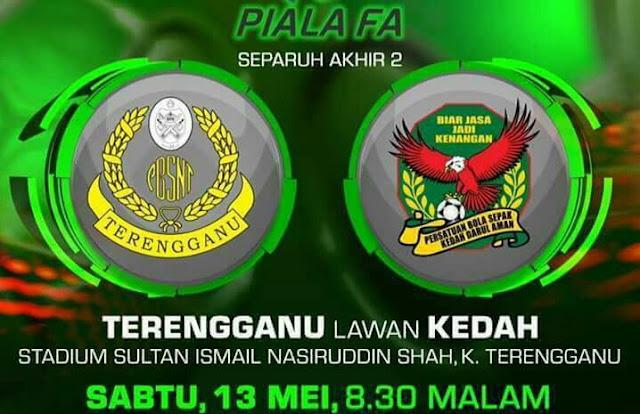 Live Streaming Terengganu vs Kedah 13.5.2017 Separuh Akhir Kedua Piala FA
