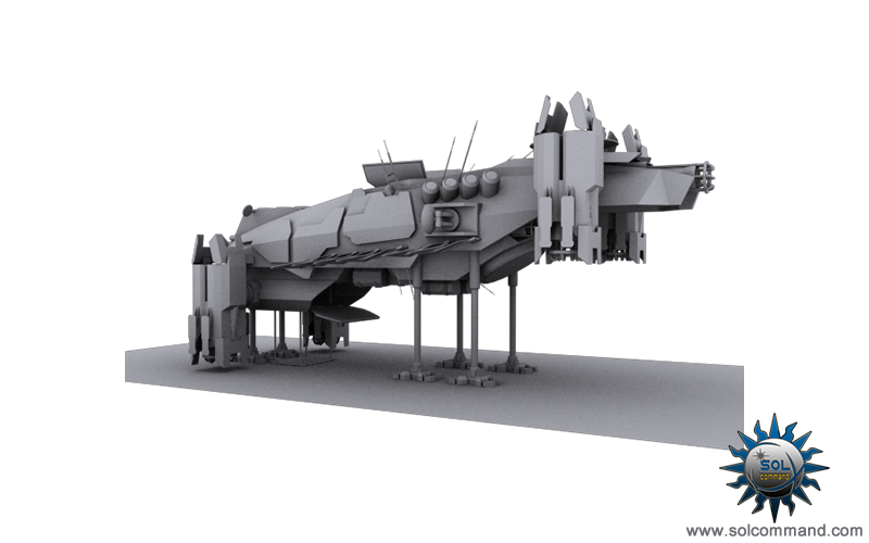 Panuduh exploration space ship spacecraft exploring deep interplantery anomaly dominium game original concept art solcommand 3d model sensor array human terran design landing hover capabalities