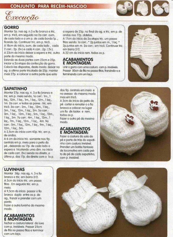 Conjunto Sapatinho,Touca e Luvas Bebê Para Recém Nascido-Revista-