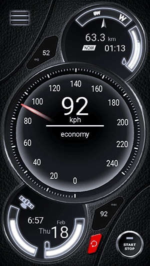 Thunder Speedometer Portrait View