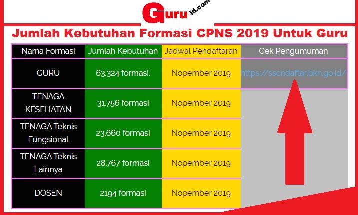 gambar Jumlah Kebutuhan Formasi CPNS 2019 Untuk Guru