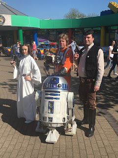 R2D2 with Leia, Luke & Han