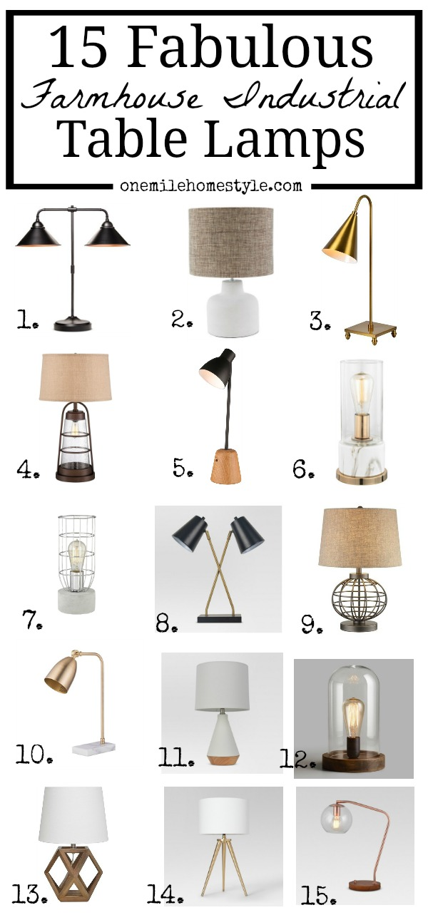 15 Fabulous Farmhouse Industrial Table Lamps that are the perfect new accent for your home
