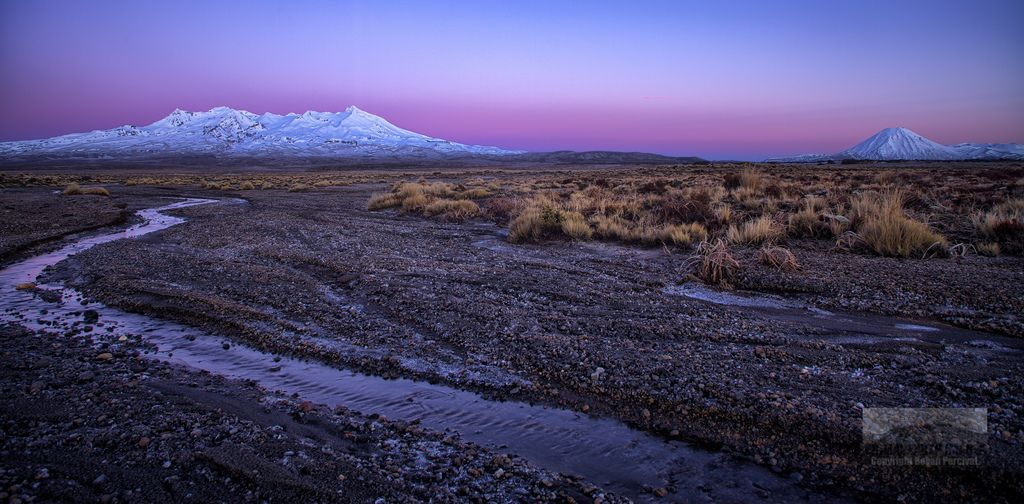 Tongariro Mountains and small stream, Rangipo Desert, North Island New Zealand
