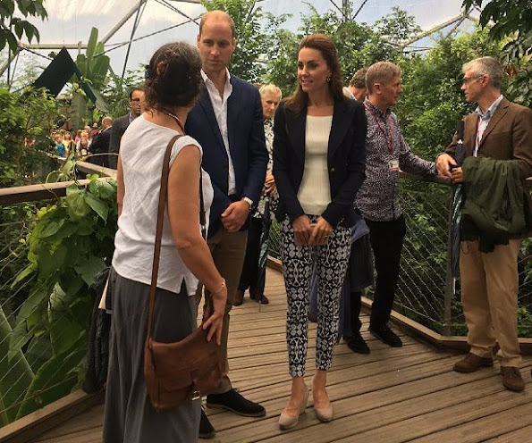 Prince William and Duchess Catherine of Cambridge visit The Isles of Scilly and at Cornwall's Eden Project, wore Smythe One Button Blazer.  GAP BI-Stretch Skinny Ankle Pants, Monsoon Fleur Wedges