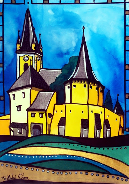 Fortified Medieval Church in Transylvania. Painting by Dora Hathazi Mendes