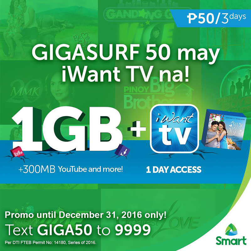 Smart GIGASURF 50 With 1 Day Access To iWantTV Announced!