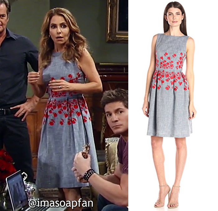 Olivia Falconeri, Lisa LoCicero, Blue Chambray Dress with Red Floral Embroidery, General Hospital, GH
