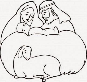 Dibujos Cristianos para colorear: Nacimiento de Jesus