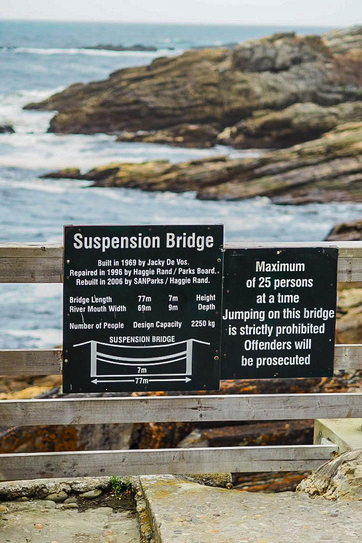 Sign for Storms River Mouth suspension bridge, Tsitskikamma national park, south africa