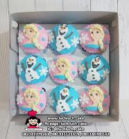 Cupcake Fondant 2D Tema Frozen Elsa, Anna, Olaf