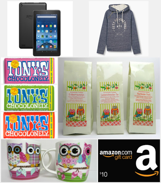 Kindle Fire, Amazon Gift Card, Esprit Sweater, Tony's Chocolate and Nanu-Nana Owl Tea & Mugs Giveaway