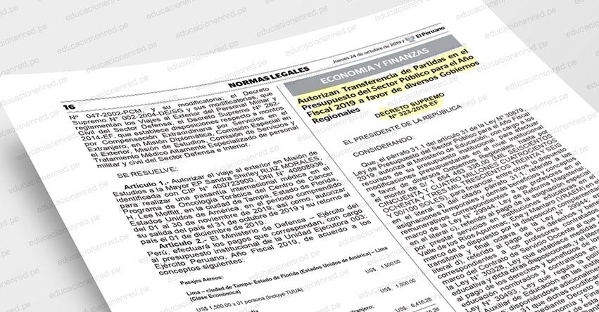 Pago de asignaciones temporales y bonificaciones serán para docentes y auxiliares de educación. CONOCE LA NORMA LEGAL (D. S. Nº 323-2019-EF)