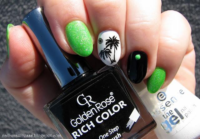 black, white, nail polish