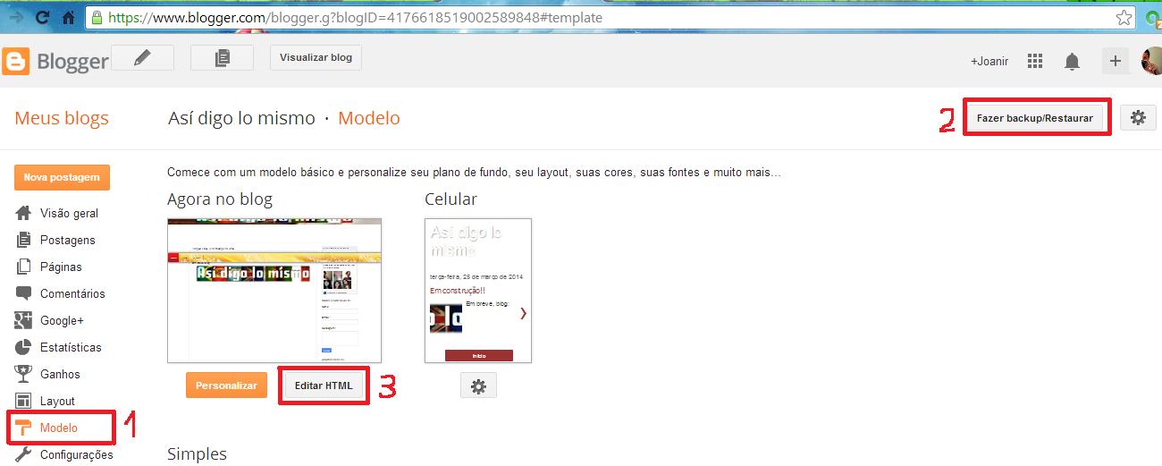 Como colocar comentários do Facebook e deixá-los juntos com os do Blog - Editando HTML do blog