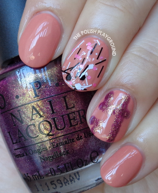 Pink with Freehand Number Nail Art