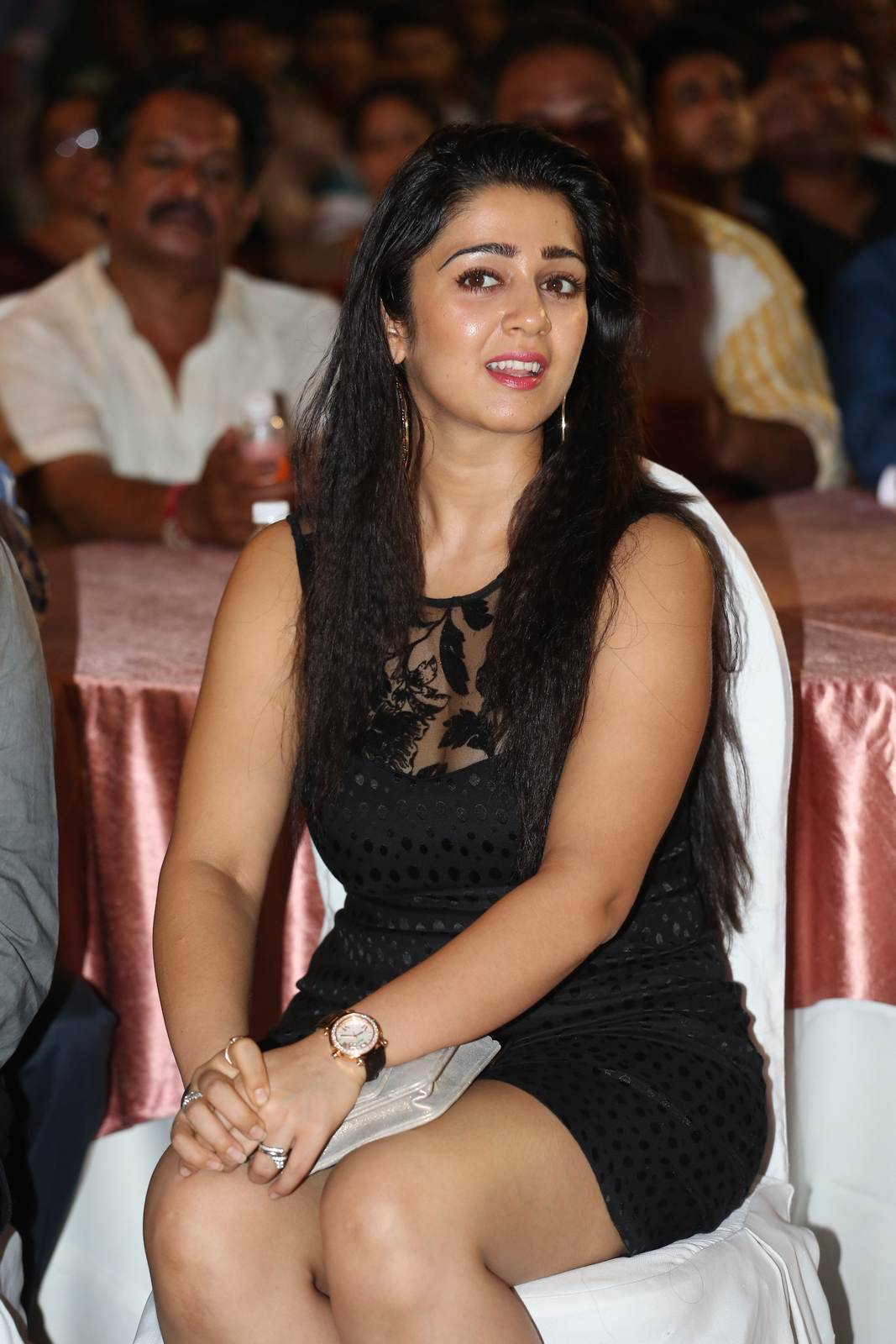 Charmi images, Charmee Kaur Pics Clicked in Black Dress at Event