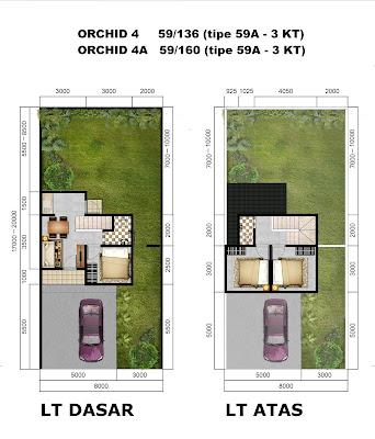 Denah Rumah ORCHID 4 dan 4A tipe 59A (3 KT) - Citra Indah City
