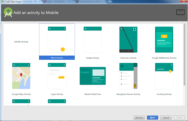 Create Project di Android Studio