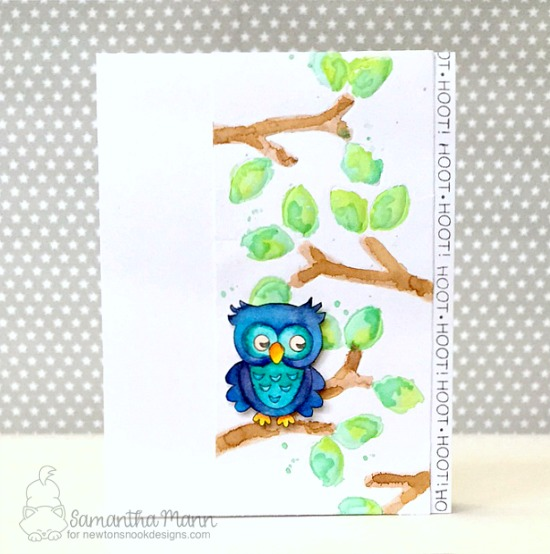 Owl watercolor Card by Samantha Mann | What a Hoot Stamp Set & Die Set by Newton's Nook Designs #newtonsnook