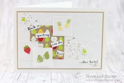 Stampin Up Frühjahrskatalog; Sale a bration 2018; Tuttifrutti, Matchthesketch, Stampinup Obstset; Geburtstagskarte; Sommerset