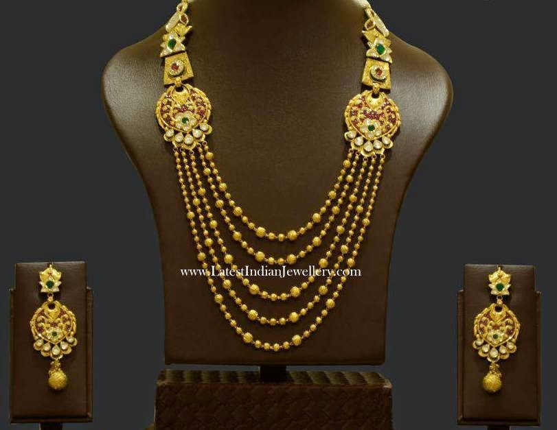 Contemporary Antique Gold Beads Necklace