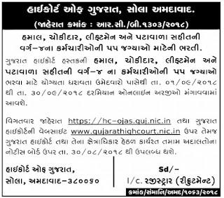 High Court of Gujarat Recruitment for 55 Hamal, Chowkidar, Liftman & Peon Posts 2018