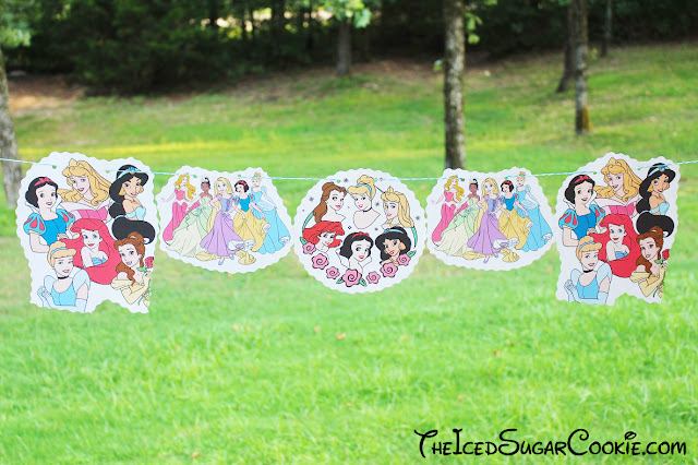 Disney Princesses Birthday Party DIY Banner Idea-The Little Mermaid Ariel, Sleeping Beauty Aurora, Cinderella, Snow White, Beauty And The Beast Belle,The Princess And The Frog, Aladdin Jasmine