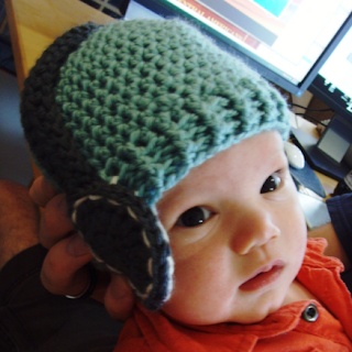 crocheted baby headphones hat