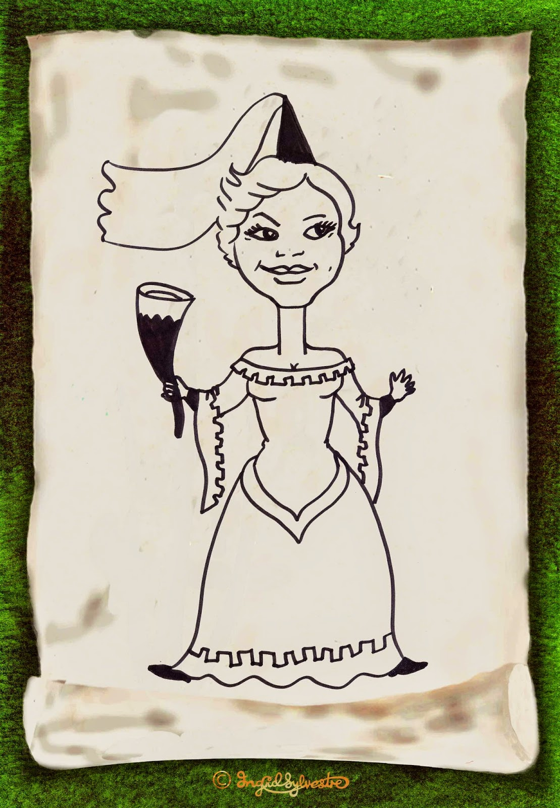 Medieval themed Caricature for Events Ingrid Sylvestre North East Caricaturist Newcastle upon Tyne Durham Sunderland Middlesbrough Teesside Northumberland Darlington Stockton North Yorkshire Parties Weddings Corporate Events Proms Wedding Entertainment UK