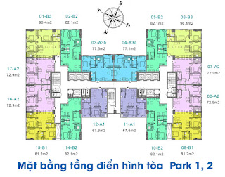 Mặt bằng thiết kế tòa Park 1-2
