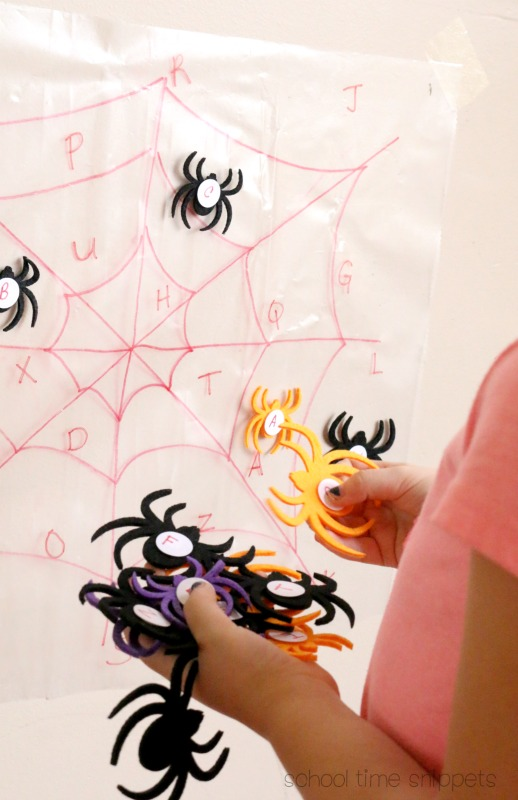 Spider Sticky Wall Alphabet Activity for Preschool