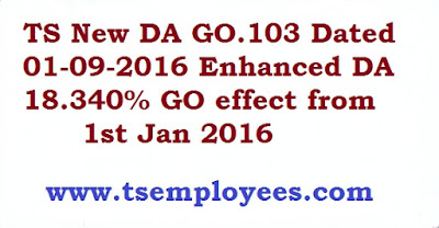 TS New DA GO.103 Dated 01-09-2016 Enhanced DA 18.340% GO effect from 1st Jan 2016  Telangana new DA Table TS New DA GO 103 Dated 01.09.2016 15.96 %  TS Jan 2016 DA Go.103,TS Jan 2016 DA Go103,TS Latest DA news,Telangana Jan 2016 DA Go.No103 ,TS Da,telangana da orders,da table telangana,da for ap state government employees 2016,present da in telangana,telangana new da,da go latest,latest da order DA enhanced DA 18.340%, #DA enhanced from 15.196% of the basic pay to 18.340% of basic pay from 1st of Jamuary, 2016, TS GO.103,Dt.01-09-2016, CPS GPF DA Arrears amount DA enhanced from 15.196% to 18.340% , Arrears :January 2016 to August 2016 to GPF, Cash from September, 2016, DA 3.144% enhanced from 15.196% to 18.340% from 1st of January, 2016. Telangana New DA GO 103 TS Teachers Latest DA GO 103, TS Employees Increased 18.340% DA sanction GO order. Telangana Dearness Allowance to the State Government Employees from 1st Jan 2016 – Sanctioned – Orders – Issued. Telangana FINANCE (HR VI) DEPARTMENT G.O.Ms.No.103 Dated: 01-09-2016. TS Go.Ms.No 103 download for ts da table, PF Adjustment 1st January, 2016 to 31st August, 2016 and AP Employees of Government of Andhra Pradesh from from 15.196% to 18.340% of basic pay from 1st January, 2016. DA Software PF Adjustment and Cash from 01-09-2016. TS DA Go latest 2016, Telangana Jan 2016 da new go, ts updated go, ts da july 2016, da from Jan 2016 latest news, TS da from Jan 2016 announced. TS/Telangana Jan 2016 New latest DA 3.144% Details - 6% Central DA hike  :The central government on 23.03.2016 decided to hike Dearness Allowance by 6%.This is good news for 50 lakh central govt employees and 58 lakh pensioners.The impact on exchequer would be Rs 6,796.50 crore/annum and Rs 7,929.24 crore respectively,during 2016-2017 TS New DA GO.103 Sanctioned to Telangana Employees from 1st July 2016  TS New DA GO.103 Dated 01-09-2016 Enhanced DA 18.340% GO effect from 1st Jan 2016 TS New DA GO.103 Dated 01-09-2016 Enhanced DA 18.340% GO effect f
