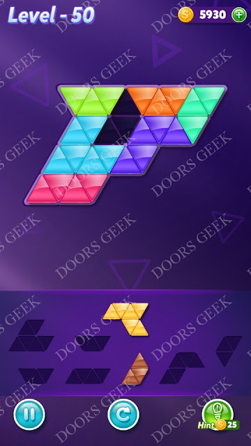 Block! Triangle Puzzle Advanced Level 50 Solution, Cheats, Walkthrough for Android, iPhone, iPad and iPod