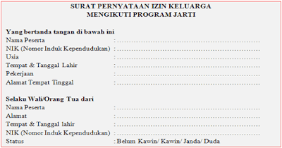Surat Izin Keluarga Mengikuti JARTI (Pengajar Pengganti)