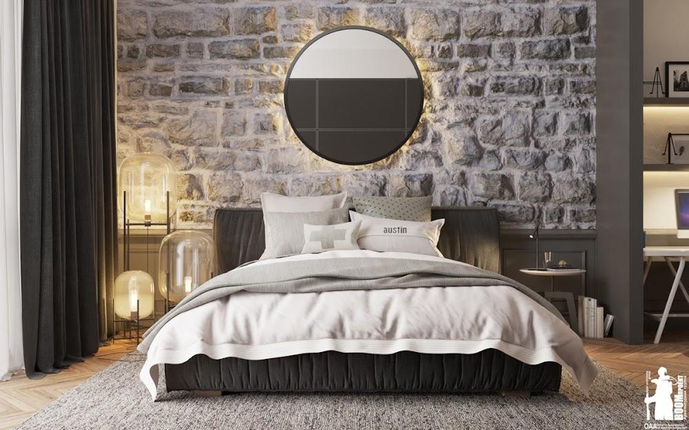 circular-mirror-stone-accent-wall-bedroom
