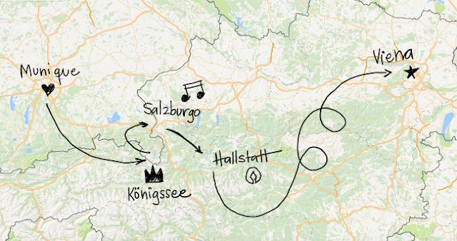 Mapa com roteiro para cidades de Munique, Königssee, Salzburgo, Hallstatt e Viena