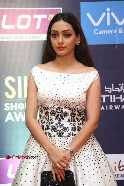 Actress Pooja Salvi Stills in White Dress at SIIMA Short Film Awards 2017  0027