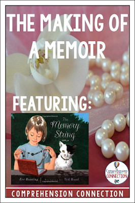 If you are teaching your students to write memoirs, check out this lesson featuring The Memory String by Eve Bunting. This post includes a memoir writing resource download.