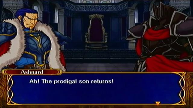 Fire Emblem Path of Radiance King Ashnard the Black Knight prodigal son dialogue