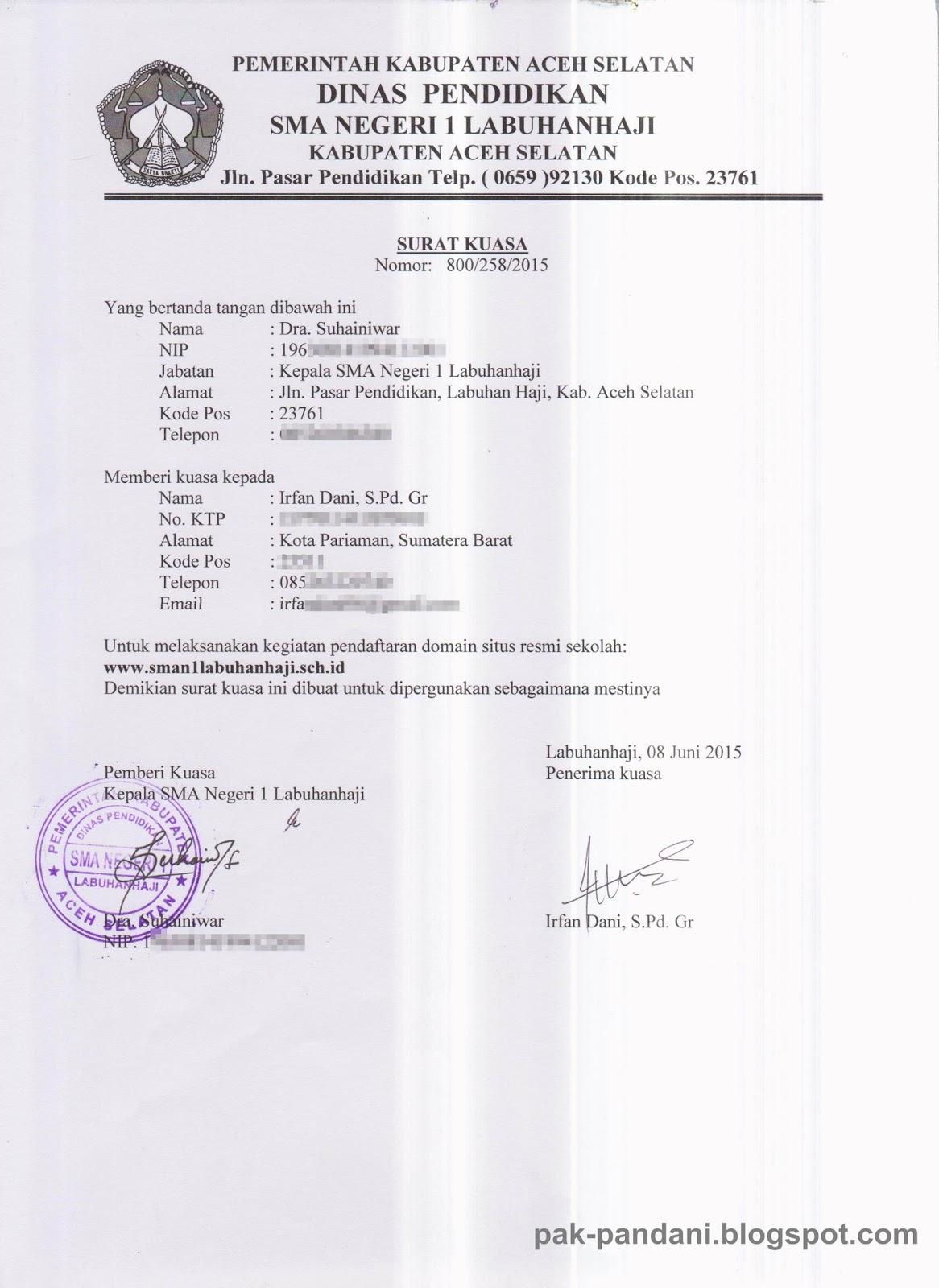 Contoh Surat Kuasa Domian Sekolah Schid Pak Pandani