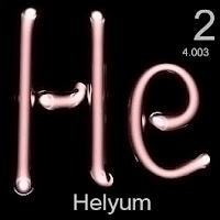 Helyum elementi üzerinde helyumun simgesi, atom numarası ve atom ağırlığı.