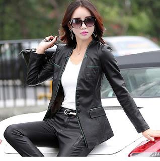 Gambar Jaket Kulit Wanita model Kantoran